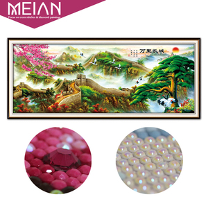 Image 1 - Meian 5D Diamond Painting Full Drill Diamond Embroidery Great Wall Home Decoration DIY broderie diamant New 2019 Crafts AB Beads