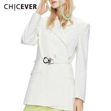 Chicever Корейская куртка для женщин с отворотом длинным рукавом