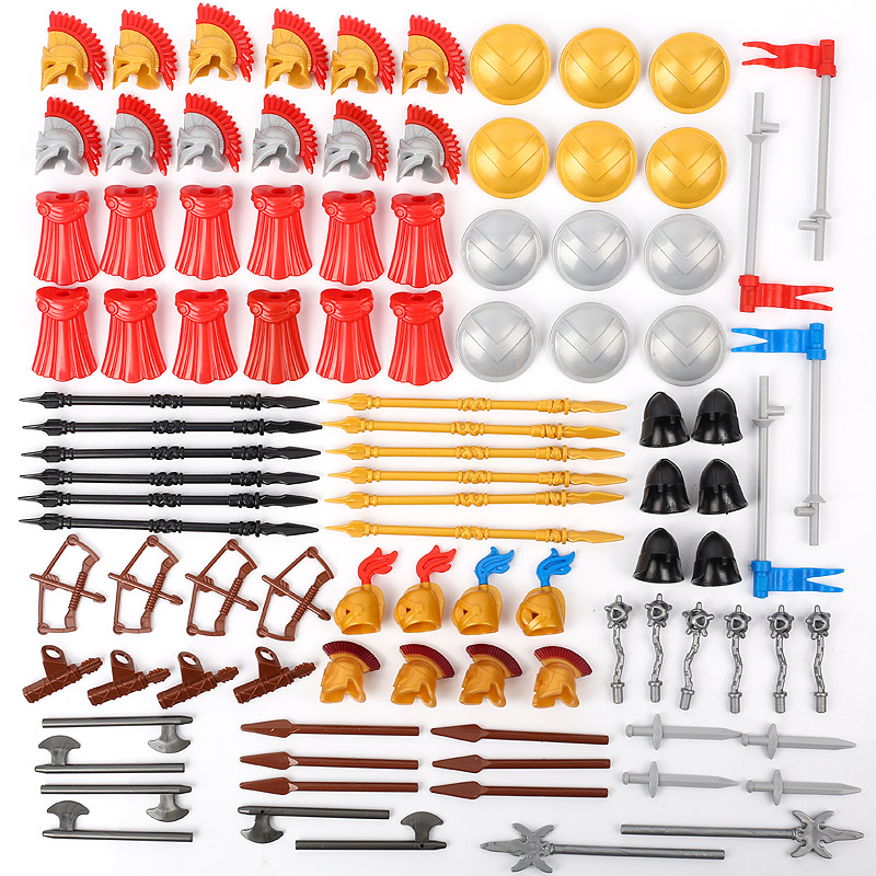 MOC <font><b>Medieval</b></font> <font><b>Castle</b></font> Knight Military Weapons Building Block Roman Figures Army Soldiers Shield Helmet Parts Accessories Wars Toys image