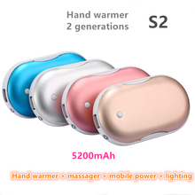 USB  Hand Warmer Vibration Massage Charged 5200 mA Travel Mobile Power Convenient LED Lamp Pocket