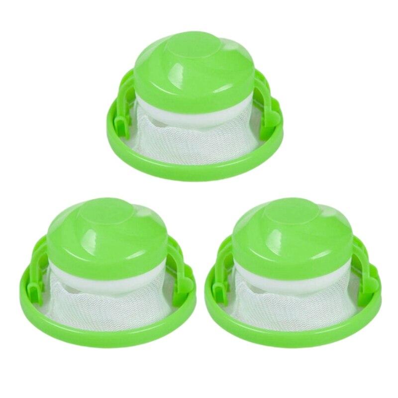 3 PIECES Animal Hair Epilator For Washing Machine, Reusable Hair Filter, Bag Washer, Hair Catch, Float, Pet Skin Collector-Green