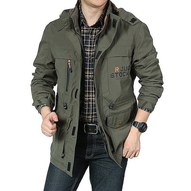 DIMUSI Men's Jackets Casual Outwear Hiking Windbreaker Hooded Coats Fashion Army Cargo Bomber Jackets Mens Clothing 2