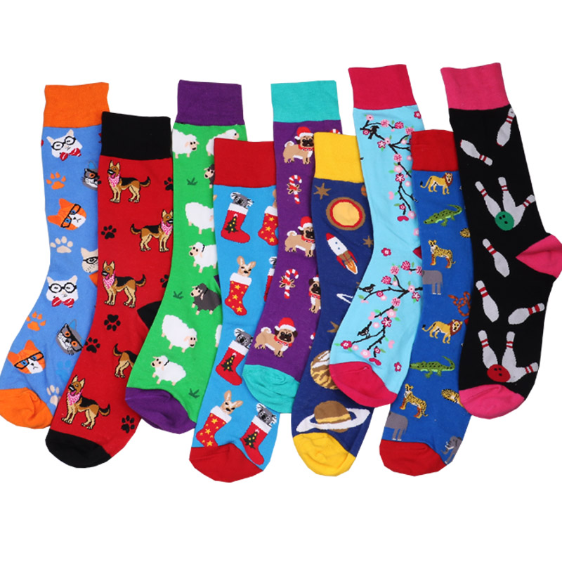 Fashion Happy Socks Cotton Soft Sox Beautiful Penguin Dog Curve Men Funny Women Ladies Girls Art Socks