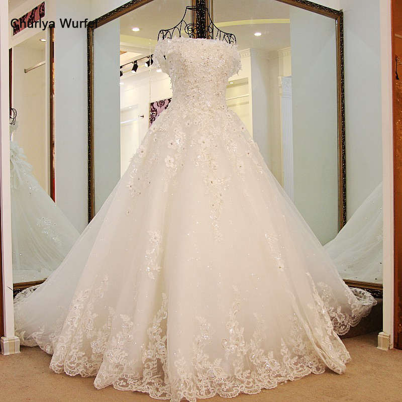 LS98850 Princess Wedding Gowns Sweep Train Lace up Back Luxury Lace Wedding Dress Bride Dresses Robe