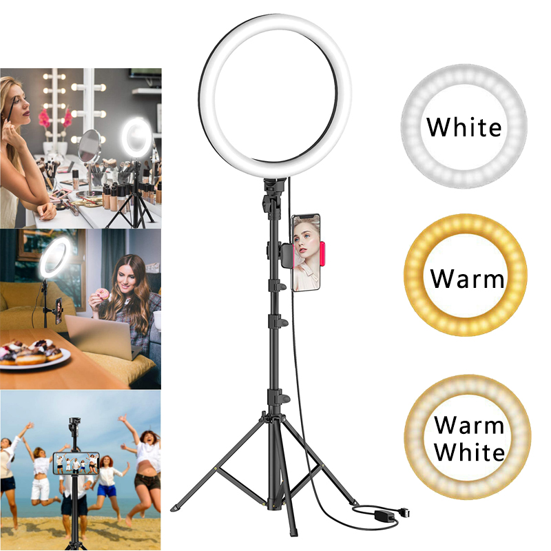 10inch LED Ring Light With Tripod Stand Phone Holder For Camera Selfie Live Video Makeup
