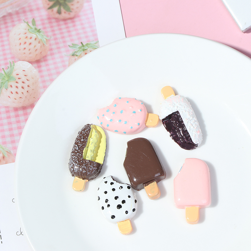 5PCS Miniature Mini Dollhouse Chocolate Popsicle Food Models Home Kitchen Decors