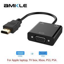 Amkle Adaptador de HDMI a VGA, convertidor de Cable HDMI VGA, compatible con 1080P, con Cable de Audio para HDTV, XBOX, PS3, PS4, portátil, TV Box