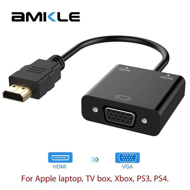 Conversor amkle hdmi para vga, adaptador com suporte para 1080p com cabo de áudio, para hdtv, xbox, ps3 caixa de tv para notebook e ps4