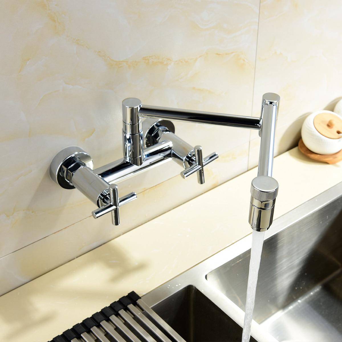 Robinet de cuisine mural en cuivre chromé universel rotatif robinet de cuisine à eau chaude et froide pliant bissorcière en dehors de la chine