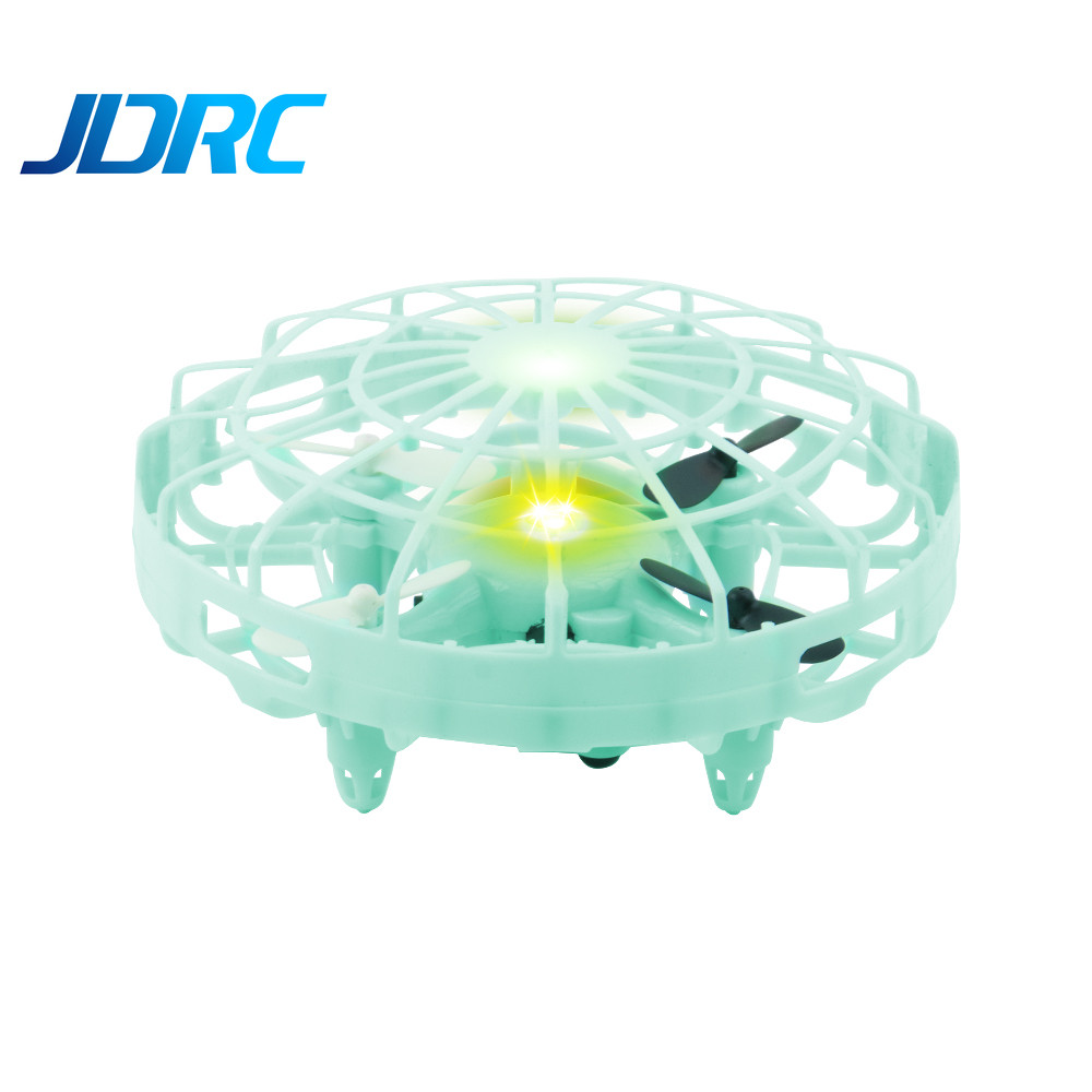 JDRC JD10 Mini Drone UFO Infrared Sensing Control Hand Aircraft Quadcopter Infraed Induction Intlligent Blue/Green RC Kid Toy