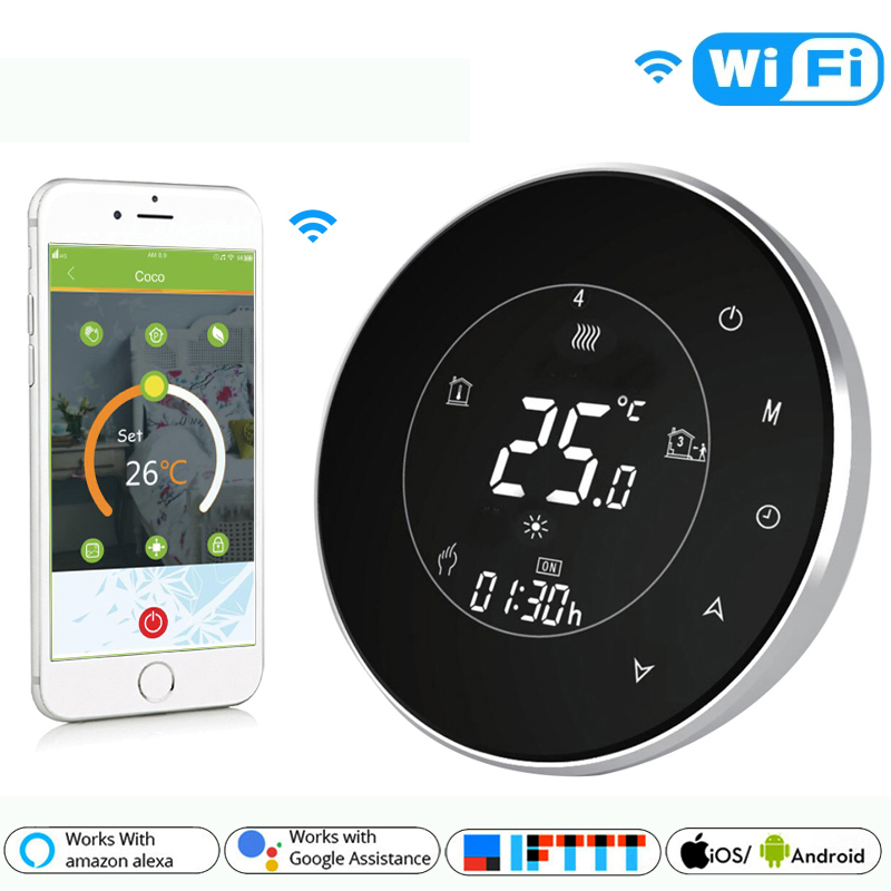 BHT-6000-GALW Water Floor Heating LCD Touch Screen Wifi Thermostat With Remote Control Works With Alexa Google Home IFTTT