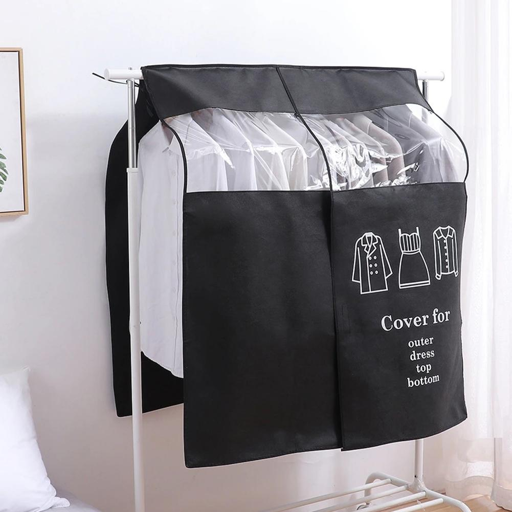Large Cloth Hanger Non-woven Coat Dust Cover Transparent Clothing Dust Cover For Household Home Supplies