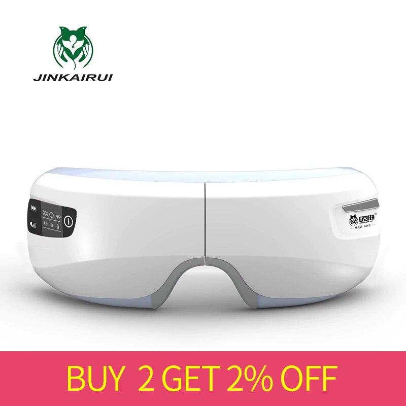 Massageador elétrico recarregável do olho da pressão de ar com vidros de usb do aquecimento do infravermelho distante magnético da vibração sem fio das funções mp3