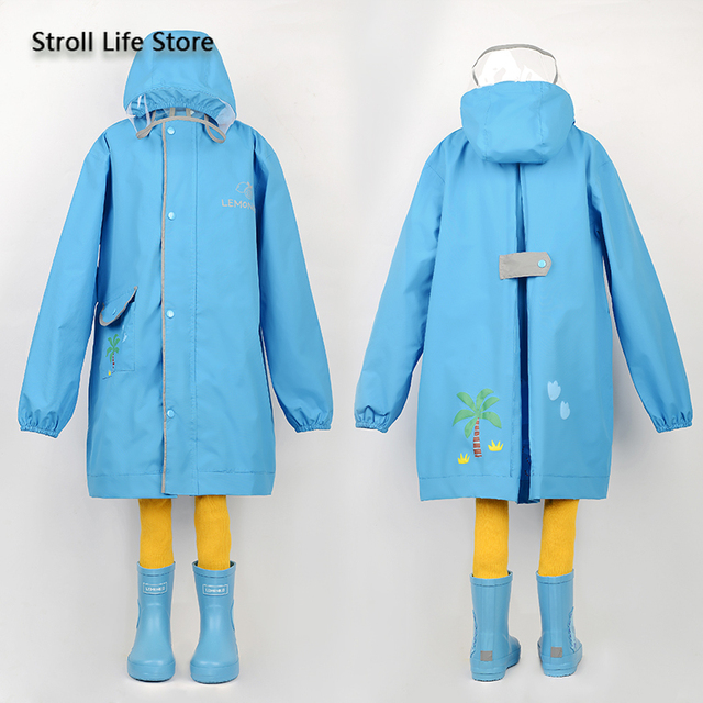 Korea Yellow Kids Raincoat Girl Long Rain Coat Poncho Waterproof Suit Cover Long Rain Jacket Kids Windbreaker Impermeable Gift 5