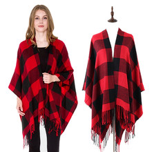 2019 new hot winter design women red buffalo plaid blanket poncho cape oversize shawl stole(China)