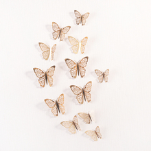 12 Pcs/Set 3D Wall Stickers Hollow Butterfly for Kids Rooms Home Wall Decor DIY  Fridge stickers Room Decoration 3pcs set 3d removable room decoration wall stickers