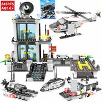 646Pcs City Police SWAT Command Coast Guard Helicopter Building Blocks Sets Creator DIY LegoINGLs DIY Bricks Toys for Children