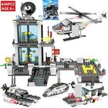646Pcs City Police SWAT Command Coast Guard Helicopter Building Blocks Sets Creator DIY LegoINGLs Bricks Toys for Children