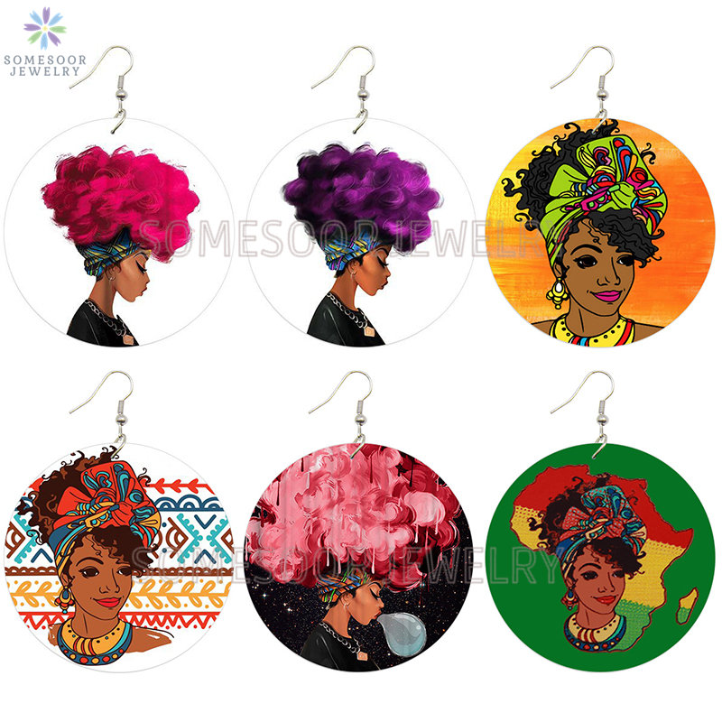 SOMESOOR Cruly Afro Natural Hair Women African Wooden Drop Earrings Bubble Girl Both Sides Printed Wood Dangle For Blacks Gifts