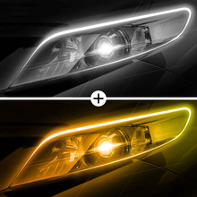 2pcs/lot Ultrafine Cars LED Daytime Running Lights White Amber Turn Signal Guide Strip Waterproof