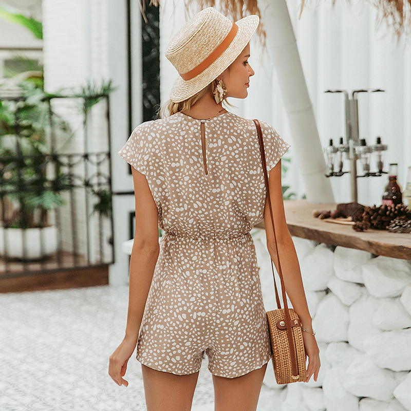 H955964fc5bb54fcd9229ab3838678544d - Conmoto bow sleeveless wide leg women short jumpsuits rompers casual loose bow tie playsuits leopard sleeveless short rompers