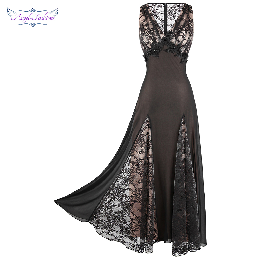 Angel-fashions V Neck See Through Floral Lace Evening Dress Long Splicing Pleated Black 460