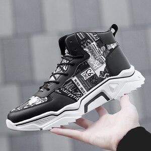 Image 2 - חורף גברים נעליים גבוהה למעלה גברים של נעליים יומיומיות לבן חם מקרית בד shoeshoes גובה הגדלת ללבוש עמיד עור