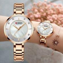 Curren relojes de oro rosa para mujer, de cuarzo, resistente al agua, de pulsera, femenino