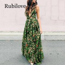 Rubilove Women Maxi Dress Summer Sexy Long Dresses 2019 V-Neck Sundress High-Waist Strap Floral Backless Print Girls Fashion Bea
