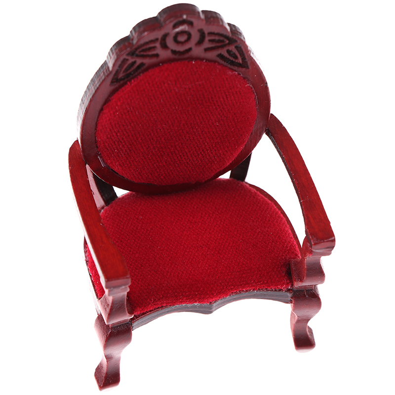 1pcs 1:12 Mini Wooden Carved Peach Shape Chair Vintage DIY Decoration Doll House Sofa Chair Furniture Accessories