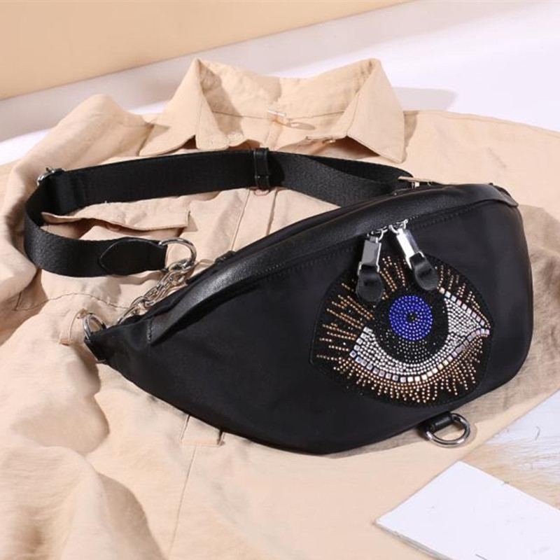Women Eye Diamonds Nylon Fanny Pack Bag Female 2020 Fashion Big Capacity Artificial Leather Black Chest Bum Belt Bags Pouch Bag