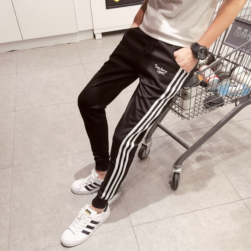 2017 New Style Korean-style Teenager Slim Fit Athletic Pants Three Bars Skinny MEN'S Sports Pants Fashion Man Casual Pants