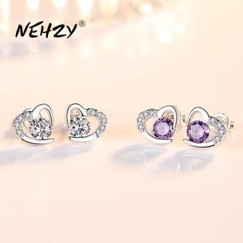 NEHZY 925 Sterling Silver Stud Earrings High Quality Woman Fashion Jewelry New Heart-shaped Amethyst Zircon Hot Sale - discount item  40% OFF Fine Jewelry