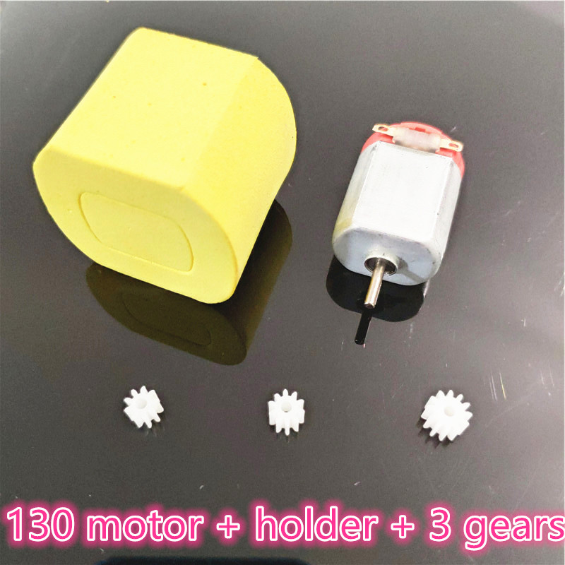 1Set Micro 130 DC motor 3V 10000RPM + 3pcs Gears + Motor Holder Case DIY Helicopter Toy Parts Scientific Experiment Dropshipping