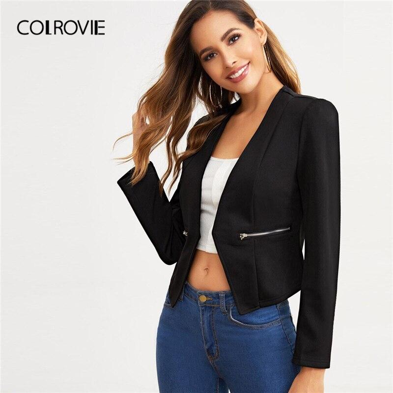 COLROVIE Black Open Placket Zip Detail Blazer Women 2019 New Autumn Elegant Ladies Suits Solid Casual Fashion Blazers