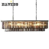Modern Rectangle Pendant Lights Crystal Hanging Lustre de cristal Lamp Dining room foyer Pendant Lighting 100% Guarantee