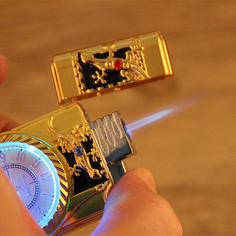 Flash Watch Metal Gas Lighter Cigar Cigarettes Lighter Torch Electronic Lighters Smoking Accessories Gadgets For Men Pakistan