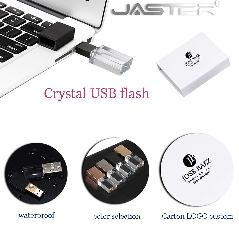 JASTER New 3D Custom LOGO Crystal USB 2.0 Flash Drive With Gift Box 2GB 4GB 8GB 16GB 32GB 64GB Free Shipping