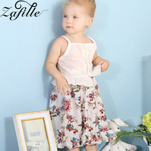 ZAFILLE Summer Baby Girl Clothes Infant Solid Sleeveless Top+Printed Skirt 2Pcs Toddler Outfits Girls Suit Cotton Kids Clothes girls geometric print top with solid skirt