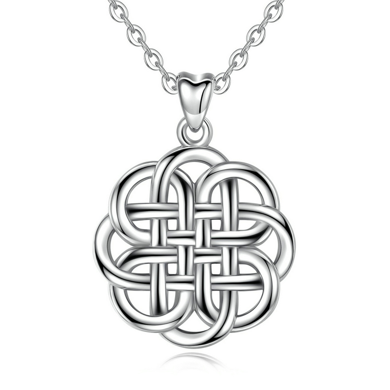 Davitu Necklaces Gem Color: Pendant only Angel Caller Authentic 925 Sterling Silver Lucky Celtics Knot Pendant Necklaces Elegant Silver Fine Jewelry for Women CYD201