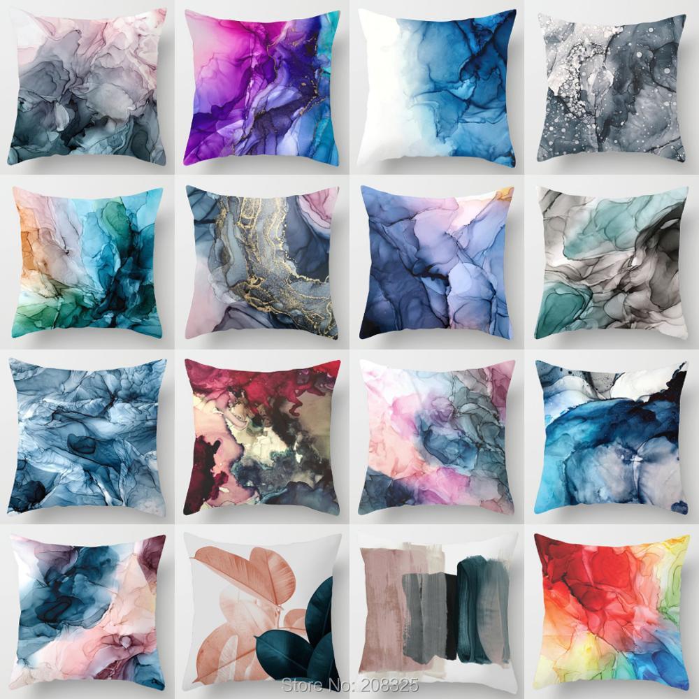 Наволочка ZENGIA с изображением румян, серо-синего абстрактного рисунка, наволочка с радужным рисунком, декоративные подушки для домашнего де...