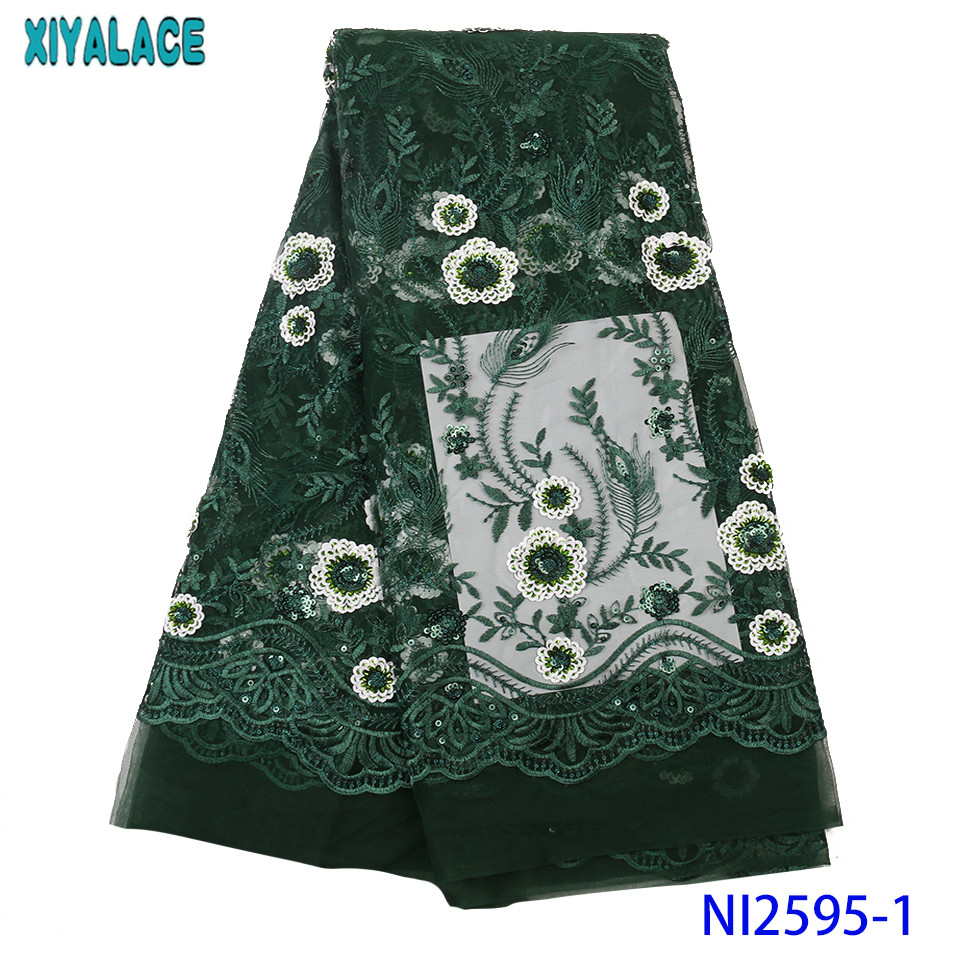 African Lace Fabric Embroidered Nigerian Laces Fabric 2019 High Quality Green French Tulle Laces With Sequins KSNI2595