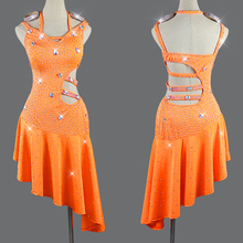 Latin Dresses Competition Dance Women Costume Orange Performance Dancing Dress Girls