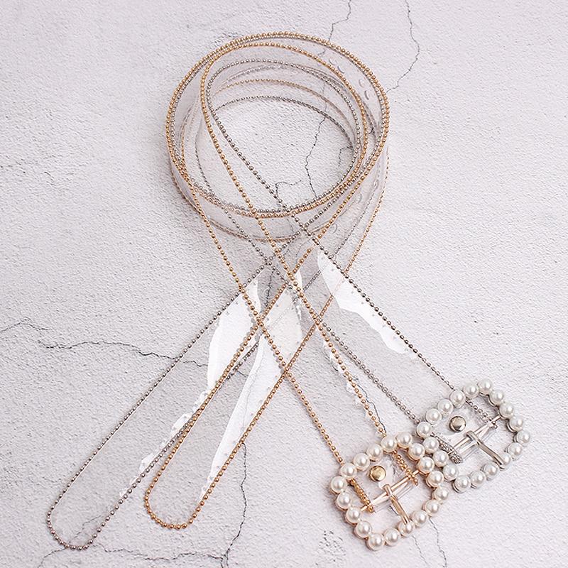 Fashion Clear Belt Waist Belts For Women 2020 Transparent White Pearl Belt Cinturon Mujer Plastic Designer Waistband Ladies