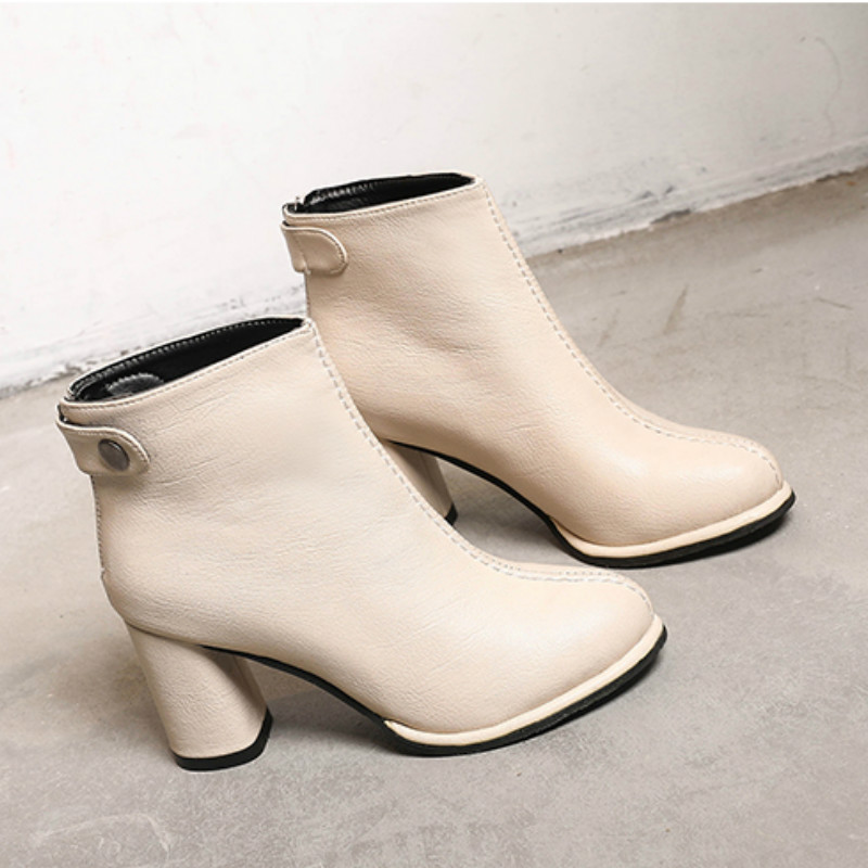 Hot 2019 Fashion Retro Women <font><b>Boots</b></font> Vintage <font><b>Block</b></font> <font><b>Heel</b></font> <font><b>Ankle</b></font> <font><b>Boots</b></font> Behind Zipper High <font><b>Heels</b></font> Women Shoes Zapatos Mujer R1-06 image