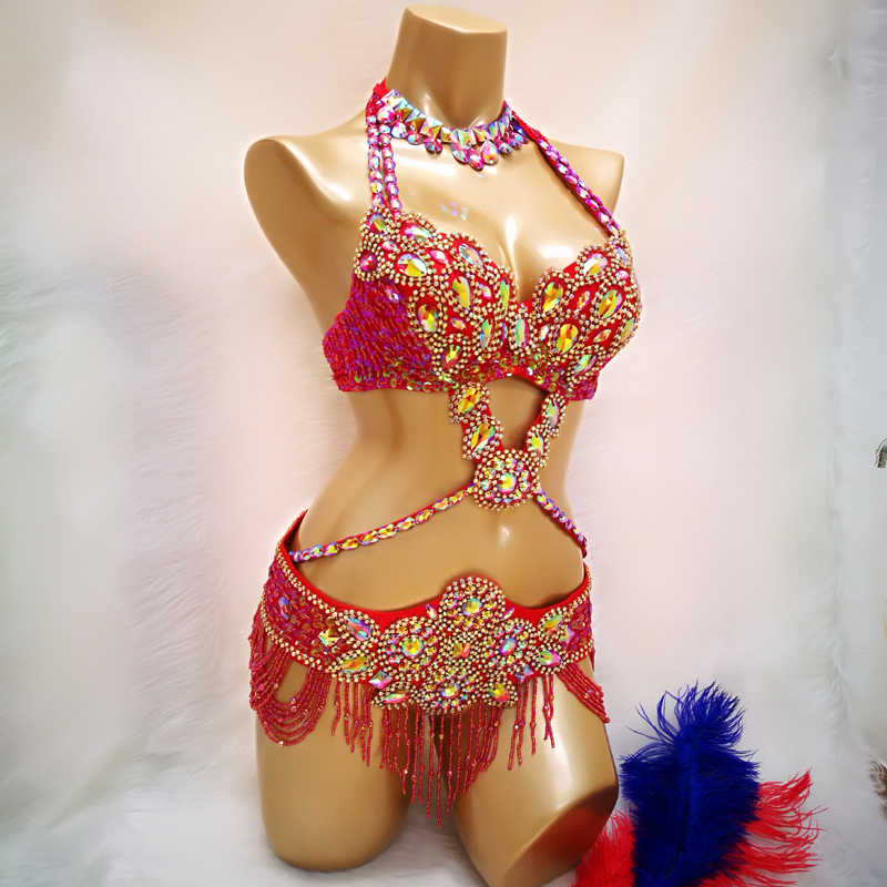 Sıcak satış kadın boncuklu kristal göbek dans kostümü giymek Bar + kemer kolye 3 adet set seksi bellydancing kostümleri bellydance elbise