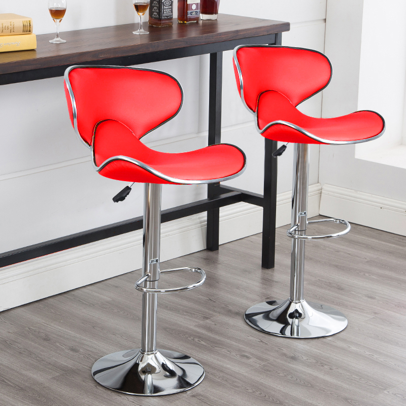2Pcs/Set Lounge Chairs Bar Chair PU Leather Bar Stool Lift Height Adjusted Swivel Leisure Home Office Kitchen Backrest Chair HWC