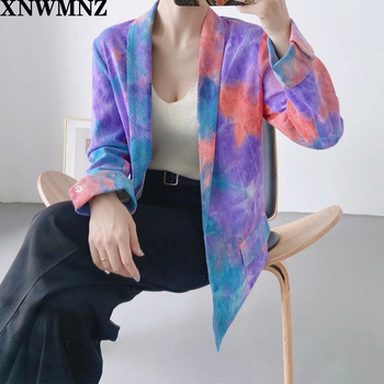 XNWMNZ Za Women 2020 Fashion Single Button Tie-dye Blazer Coat Vintage Long Sleeve Pockets Female Outerwear Chic Tops