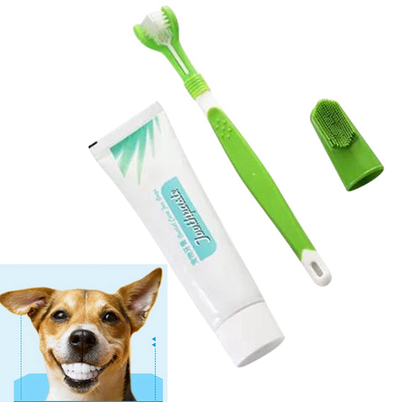 3-heads Finger Heads Edible Toothpaste Pet Dog Oral Care Cleaning Supplies Toothpaste Toothbrush Set image
