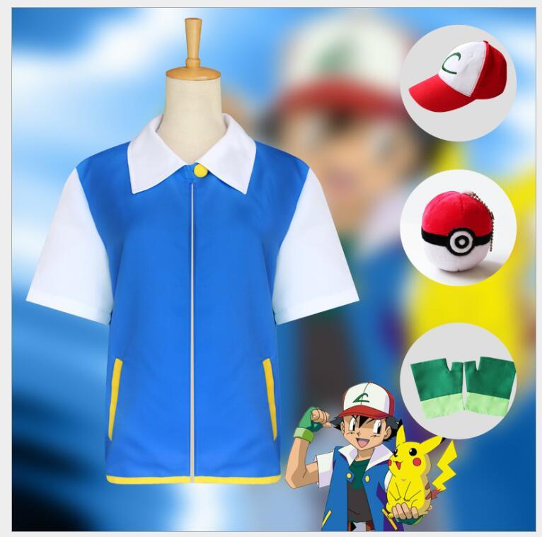 Аниме Косплей Эш Кетчум костюм для косплея синяя куртка шляпа перчатки тыкать мяч полный комплект костюмы на Хэллоуин